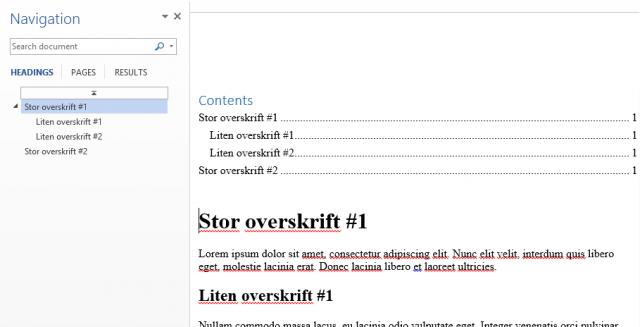 Innholdsfortegnelse er generert i Word basert på overskriftene i den velstrukturerte nettsiden