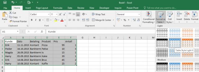 """Sånn ser en """"tabell"""" gjerne ut i Excel før den blir definert som en tabell."""