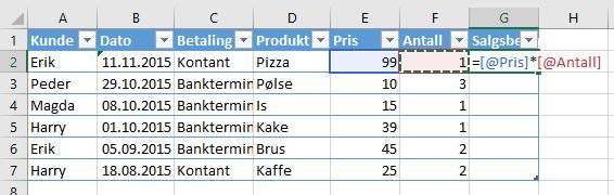 I en tabell i Excel vil formlene se litt annerledes ut enn du er vant til.