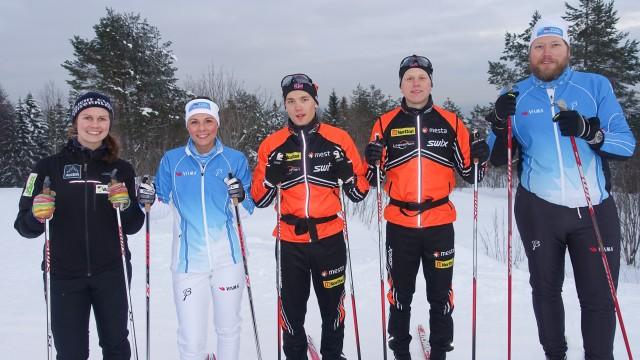 Fra venstre: Karianne (trener), Carine, Stian Hoelgaard, Anders Mølmen Høst og Åsmund.