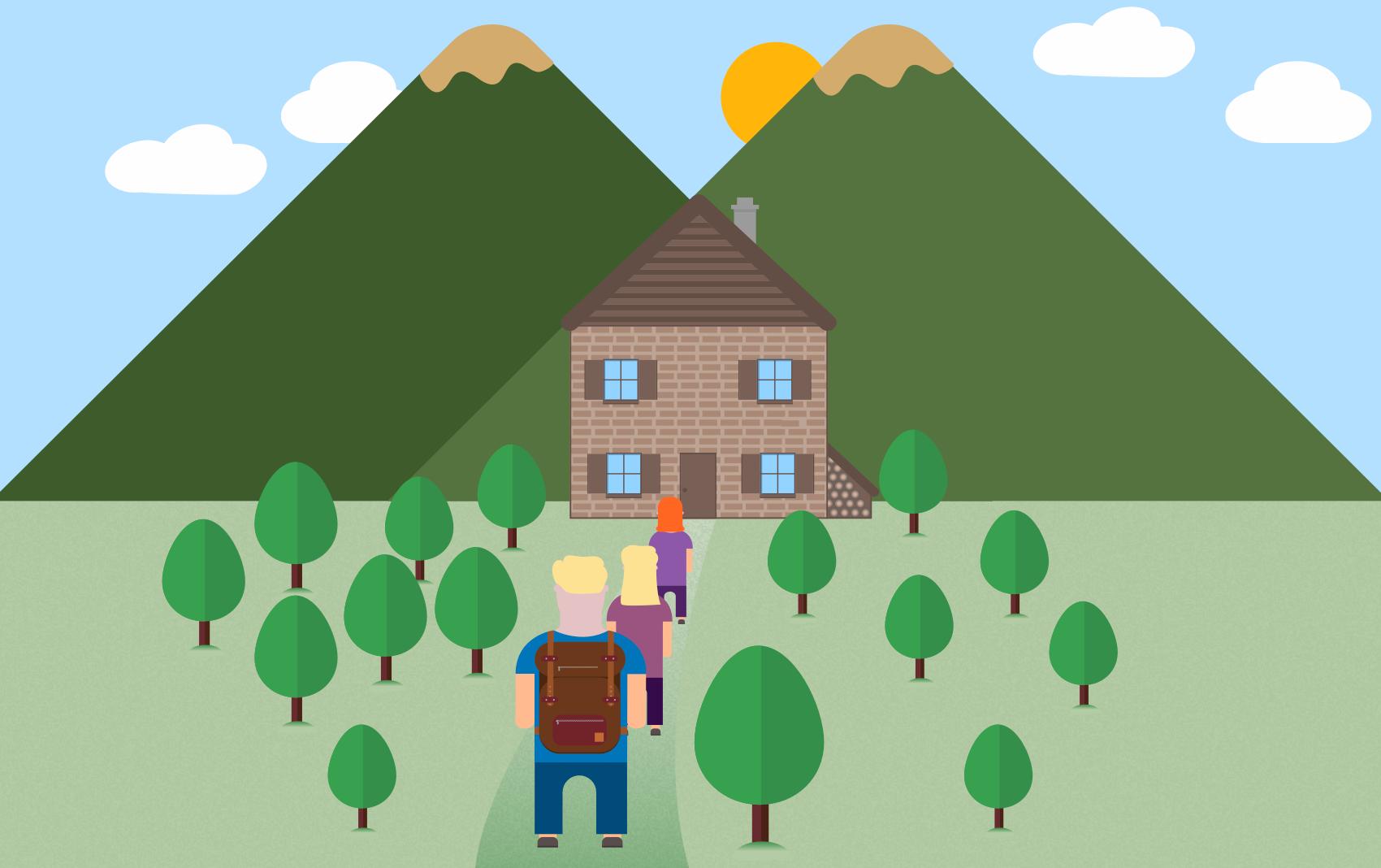 3 designere med ryggsekk som går mot et hus i skogen