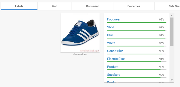 Upload image blue shoe
