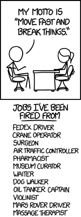 Illustration of what moving fast and breaking things would lead to in other professions like drivers, surgeons, etc
