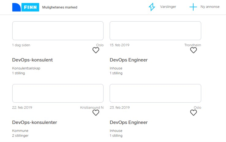 Eksempler på DevOps-annonser fra finn.no