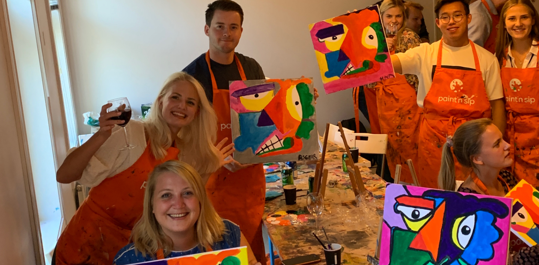 Paint and sip med Summer Interns