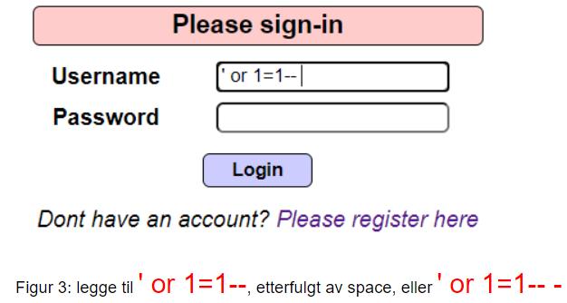 Eksempel på brukernavn