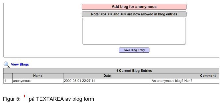Eksempel på tekstområde i skjema