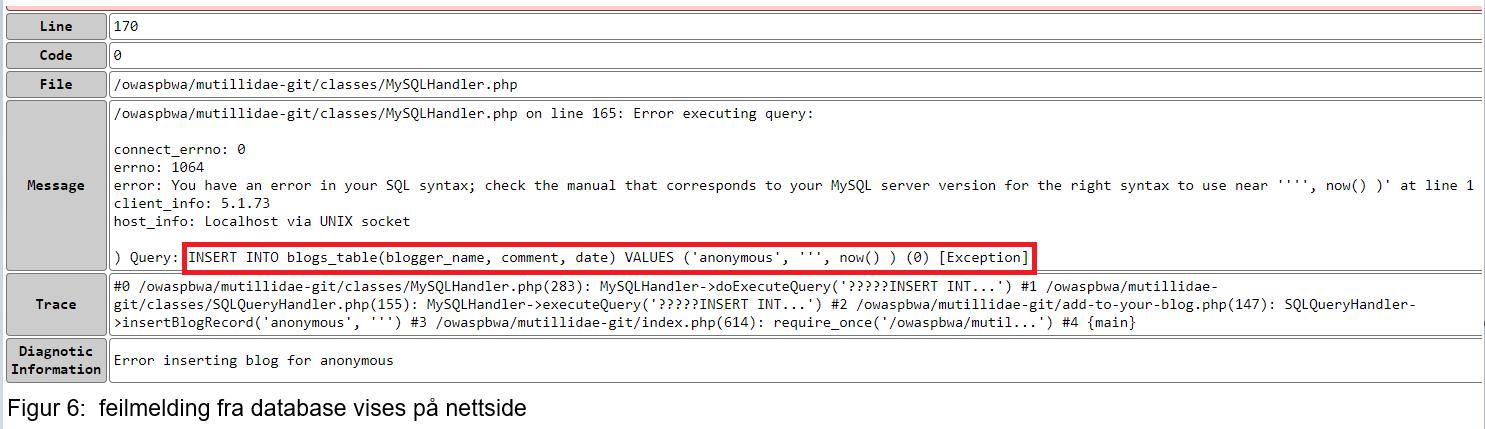 Informasjon i error beskjed