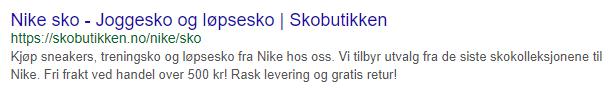 Eksempel med sekundær søkefrase for Nike sko
