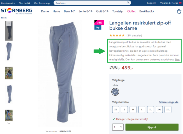 Eksempel på god plassering og produktbeskrivelse fra Stormberg.no
