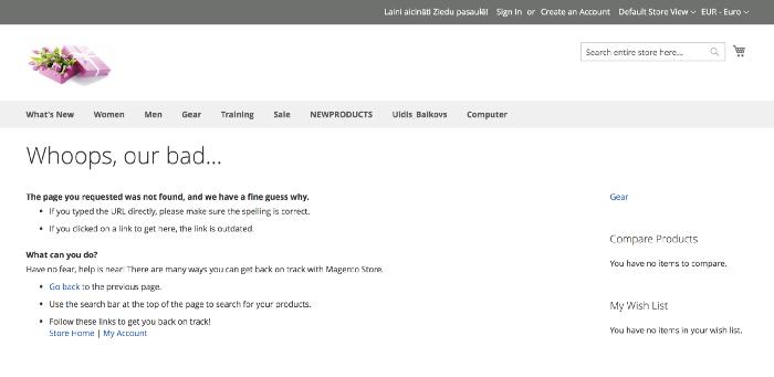 Eksempel på Magento default 404 side for feilmelding