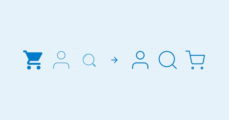 Eksempel på ikoner med samme stil og eksempel med ulik stil