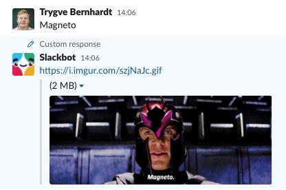Skjermdump fra Slack, med automatisk svar med bilde av Magento, skurken fra X-men, når man staver Magento feil.