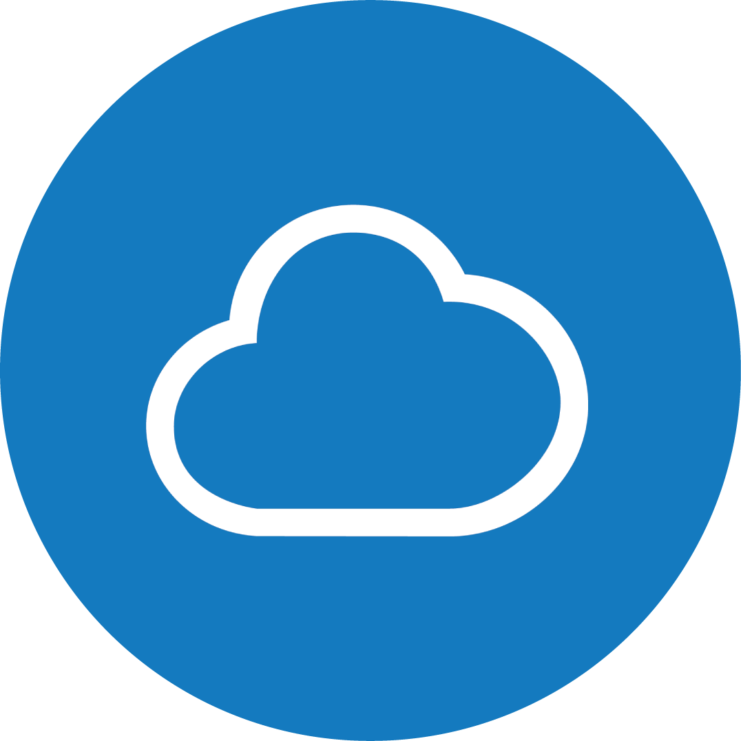 Blue circle with a white cloud icon